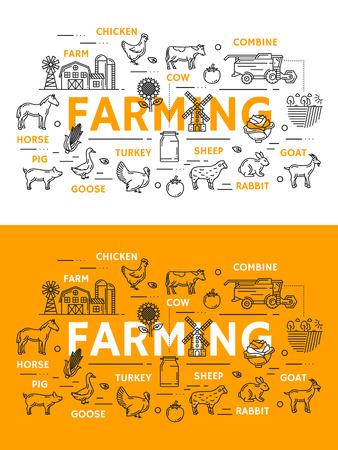 Affiches d'art de ligne agricole avec des icônes de contour. Ferme et poulet, vache et moissonneuse-batteuse, chèvre et lapin, mouton et dinde, oie et cochon, cheval et tournesol, moulin et champ, vecteur de symboles de chou et de maïs
