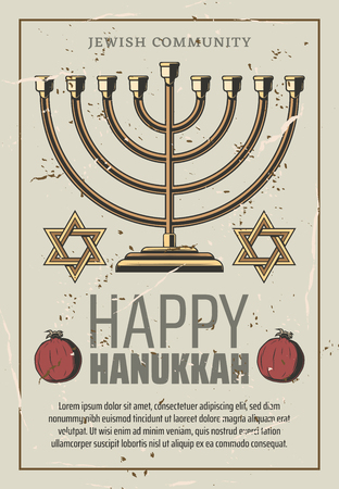 Happy Hanukkah holiday retro poster. Gold menorah and David stars with pomegranate. Jewish New Year religious event with holy symbols, lesser Jewish festival, kindling of lights