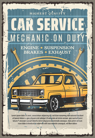Car service retro poster. Mechanic on duty, automobile repair shop. Vector engine and suspension, brakes and exhaust. Pickup car, vehicle mechanism diagnostics, spare parts and garage station