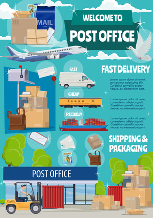 Post mail delivery office, postage logistics. Vector postman or mailman in car moving boxes in warehouse, envelopes and parcels, air and train or truck transport vehicles. Mail shipping concept