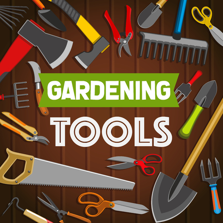 Gardening tools, agriculture or horticulture equipment. Shovel or spade, rake and saw, scissors and axe, secateur and knife, forks and hoe. Vector items for garden maintenance, shop poster