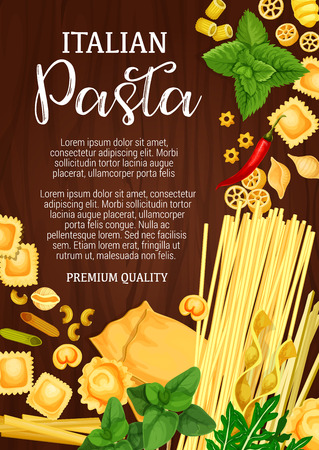 Italian pasta, Italy cuisine or pasta restaurant menu. Vector spaghetti and macaroni, farfalle or pappardelle and lasagna, ravioli and fettuccine, tagliatelle and mint or parsley seasonings