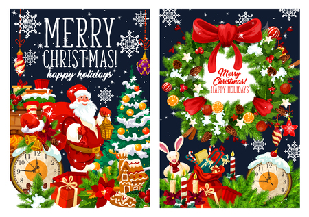 Merry Christmas holiday greeting card. Santa with gifts bag at Christmas tree. Vector stockings on fireplace, snowflakes and ornament or Xmas wreath on blue background