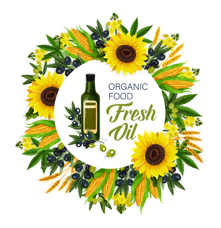 Cooking oils and ingredients, organic food. Vector extra virgin olive, sunflower seed and flax or corn, hemp and rapeseed in glass bottles round icon, natural plants and vegetables