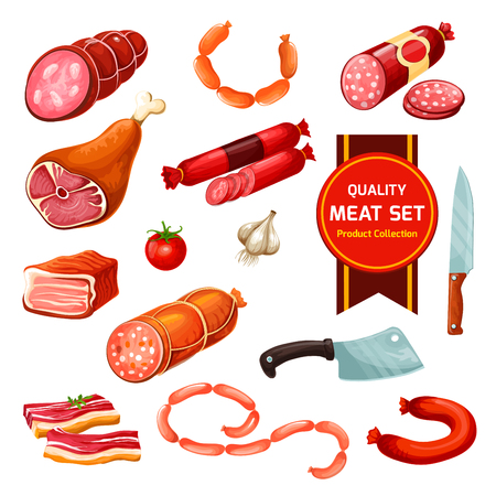 Butcher items, sausage and meat icons with knives, tomato and garlic seasonings. Vector isolated beef and pork, sausage and ham, bacon and cutlery, frankfurter and salami, rib and sirloin Illustration