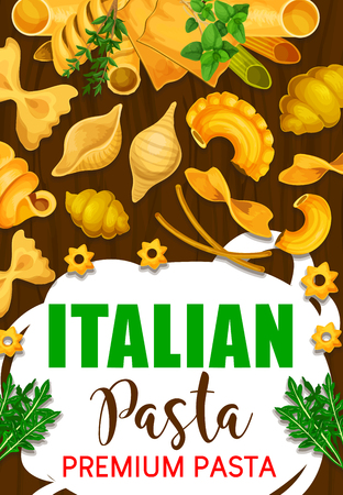 Pasta Italian dish with greenery. Vector spaghetti and macaroni, farfalle and lasagne, fusilli and pippe doppia, stelline and ravioli, pastry food with seasoning, dill and arugula
