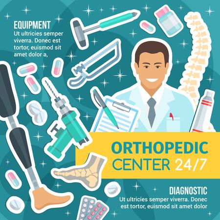 Ortopedia, traumatologia i medycyna reumatologiczna. Wektor stawów i kości, zdrowego ludzkiego kręgosłupa i stopy, protezy, instrumentów chirurgicznych, wiertła i piły. Szpital i klinika diagnostyczna Ilustracje wektorowe