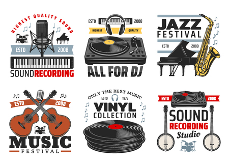 Music festival and sound recording studio icons with musical instruments. Microphone and synthesizer, DJ set and classic piano, saxophone and acoustic guitar, vinyl discs and bonjo vector icons Vectores