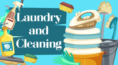 House cleaning, laundry and cleaning items. Spray, brush and sponge, detergent bottle and broom, mop and glove, soap and bucket. Laundry, duster and iron, plunger and scraper vector objects Stock fotó - 128161472