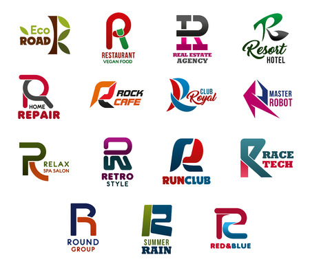 Letter R abstract icons, business and corporate identity. Road and restaurant, real estate and resort, repair and rock, royal and robot, relax and retro, run club and race, round and rain vector symbols