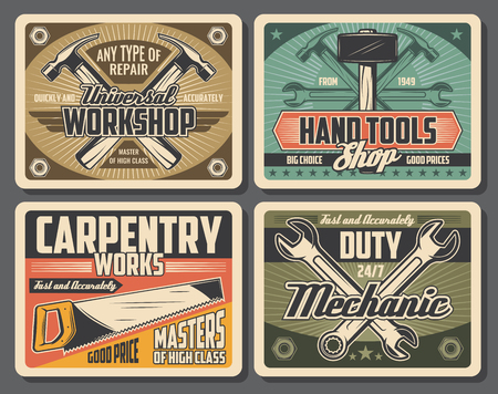 Workshop and carpentry tools, retro design. Hammer and wrench, spanner and saw vector tools. Construction and repair work, instruments shop, mechanic on duty service