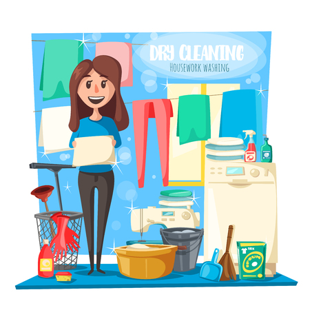 Housework or dry cleaning service, vector. Woman washing clothes and linen, laundry and washer, household tools and mop with basin, duster and broom, rag and gloves, detergent