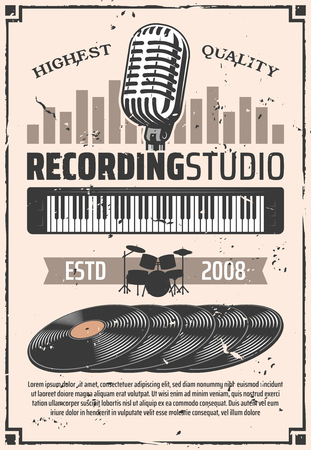 Recording studio, retro microphone and vinyl discs. Music albums, drums silhouette and electric synthesizer. Vector musical instruments and equipment, record songs or melodies theme