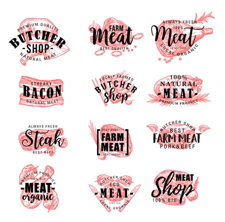 Icônes de lettrage de produits de viande, enseignes de boucherie ou de boucherie de vecteur. Filet de filet de bœuf de ferme ou surlonge, bacon de porc, cuisses de dinde ou de poulet, foie, côtes de mouton et escalope au laurier Vecteurs