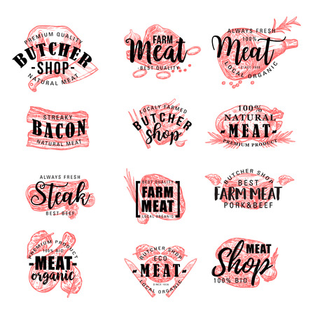 Meat products lettering icons, vector butchery or butcher shop signs. Farm grown beef filet tenderloin or sirloin, pork bacon, turkey or chicken legs, liver, mutton ribs and cutlet with laurel
