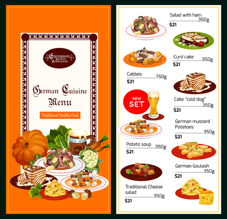 Germany cuisine menu, healthy traditional food. Vector salad with ham or cheese and curd cake, cabbages and cold dog, mustard potatoes and soup, goulash on plate