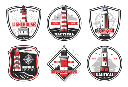 Nautical vector icons with lighthouses snd beacons. Vector beacons and ship or compass silhouettes, signal light tower in sea with red stripes on cliff. Isolated icons and symbols 일러스트