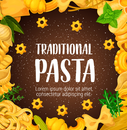 Traditional pasta, Italian dishes with greenery and chili pepper or olives. Vector spaghetti and macaroni, farfalle and lasagna, fusilli and orzo with mint and arugula, pastry food and seasoning