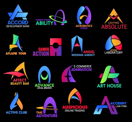 Letter A, business sand corporate identity icons. Accord and ability, acrobatics, aflame and action, angel and atom, affect and advance, admiration, active and adventure, auspicious or accident Illustration