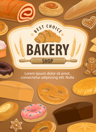 Bread, bakery shop or patisserie. Vector wheat bagel, rye croissant or ciabatta and cereal donut with glaze, gingerbread cookie or muffin, pita bread and roll with jam. Baked pastry store Banque d'images - 109840697