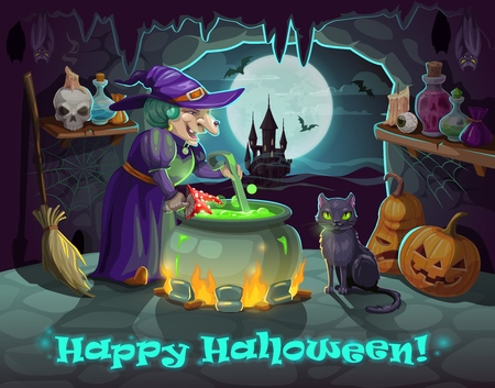 Danger witch with back cat brewing amanita mushroom potion in cauldron pot. Vector cartoon Happy Halloween, Trick or Treat night pumpkin skull, bats and haunted castle