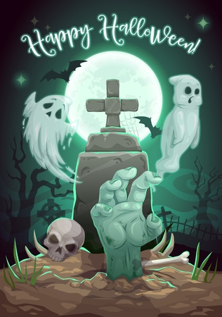 Halloween horror night cemetery with tombstone and monsters. Vector Halloween Trick or Treat holiday full moon graveyard with zombie hand, skull and ghost spook Çizim