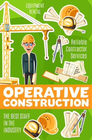 Builder profession, operative construction service. Man in glasses and helmet, divider and building drafts, ruler and tower crane, equipment and reliable constructor. Construction industry, vector