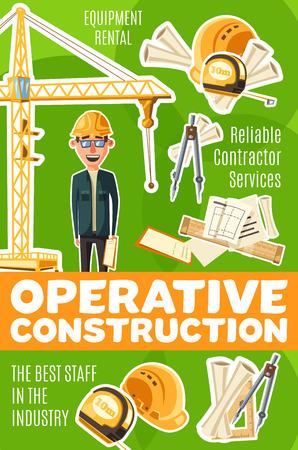 Zawód budowniczego, operatywna służba budowlana. Mężczyzna w okularach i hełmie, przegroda i szkice budowlane, linijka i żuraw wieżowy, sprzęt i niezawodny konstruktor. Przemysł budowlany, wektor