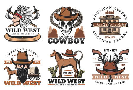 Wild West icons with Indian and feathers, carriage and saloon. Western retro symbols of vintage police and criminals accessories