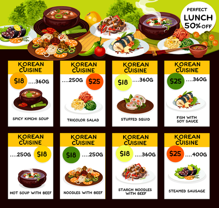 Korean cuisine menu dishes. Spicy kimchi soup or with beef and tricolor salad, stuffed squid and fish with soy sauce, starch noodles with beef and steamed sausage. Vector Illustration