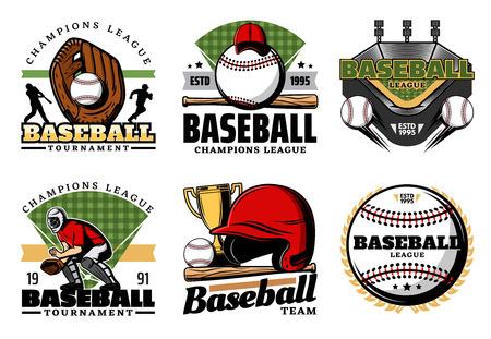 Honkbal sportieve heraldische pictogrammen. Vector lederen handschoen en ballen, trofee beker en uniform, speler en helm met vleermuis. Teamspel, sportartikelen en prijspictogrammen. Professionals club geïsoleerde symbolen