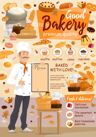 Baker with mustache holding menu. Bakery and pastry shop. Wheat flour sack and cake, roll and cheesecake, pretzel and cupcake, dough and waffle, marmalade and pastries. Vector