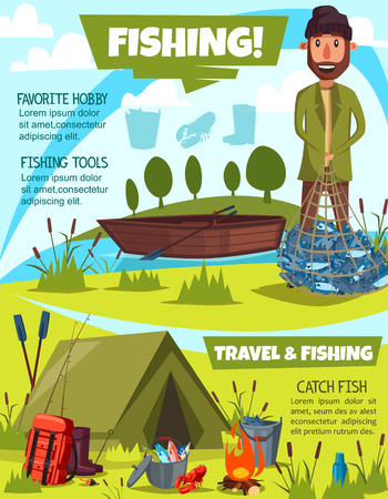 Fishing sport poster with fisherman. Vector fisher holding net full of fishes, travel with camping tent near river and rucksack, kettle and crayfish, wooden boat and fire, bucket and bulrush Illustration
