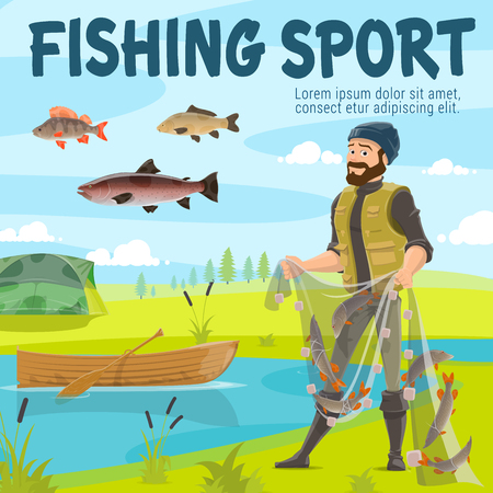 Fishing sport. Fisherman with net full of fish at river or lake shore. Vector man in rubber boots with salmon, trout and perch, wooden boat and camping tent on meadow Foto de archivo - 109807149