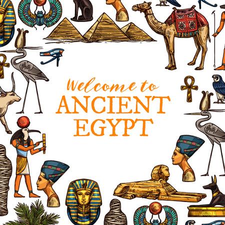 Benvenuti nel poster di viaggio dell'antico Egitto. Faraoni, dio ankh e Ra, testa e sfinge di Cleopatra, grandi piramidi e cammello, croce d'oro e cicogna, Tutankhamon e scarabeo