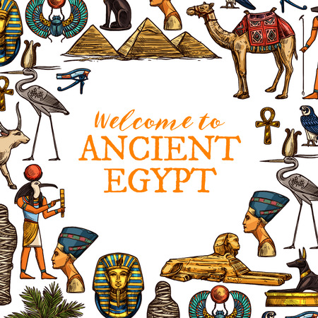 Welcome to ancient Egypt travel poster. Pharaohs, ankh and Ra god, Cleopatra head and sphinx, Great pyramids and camel, golden cross and stork, Tutankhamun and scarab