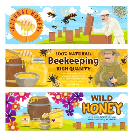 Beekeeping, apiary and beekeeper in protective suit. Man with honeycomb taking honey from beehive to jar or barrel with bees swarm flying around on beekeeping farm. Apiculture, vector Banco de Imagens - 128161493