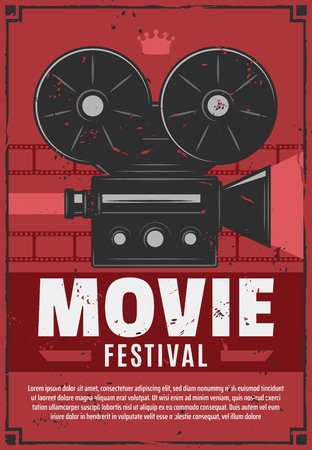 Movie or cinema festival, vintage video camera with film reels on brick wall. Vector film projection night retro invitation or announcement with equipment, motion picture production Illustration