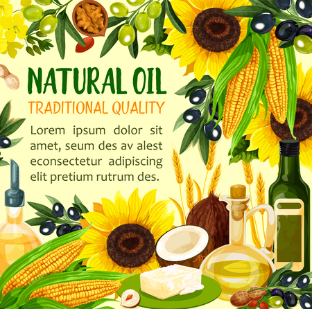 Natural oil made of sunflower seeds, olive and corn, coconut and wheat spikes, peanut. Virgin oil used in cosmetics and pharmaceuticals, frying food and dressing salads. Vector