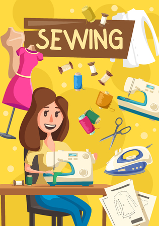 Woman works on sewing machine, vector. Seamstress sewing clothes at home, thread and needle, iron and dummy in dress, shirt and scissors, clothes drafts. Hobby and household chore or craft