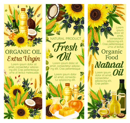 Cooking oils and organic food. Vector extra virgin olive, sunflower seed or coconut and flax or corn, hemp and fat butter on plate, wheat and nuts. Oil bottles, natural food ingredients