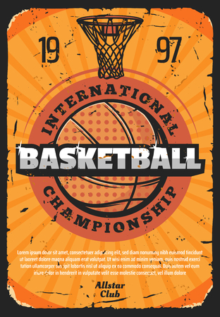 Basketball sport game vector retro poster, basket and heavy ball. Vintage design for international championship or world tournament, team game, invitation or announcement old shabby leaflet