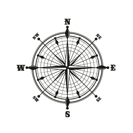 Antique compass with ornate round dial, retro nautical and marine concepts navigation icon or sign. Monochrome rose of wind with world sides, East and West, North and South vector isolated symbol