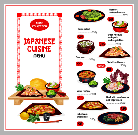 Japanese cuisine menu. Vector dessert amitsu-furutsu and kaiso salad, undon noodles with pork and vegetables food, suimono and salad kani furuco, yasai tyahan and beef, smoked eel Banque d'images - 109840714