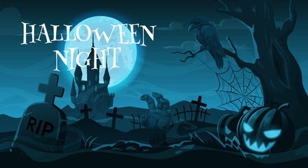 Halloween night, cemetery or graveyard. Vector gravestones and crosses, crow on tree and zombie hand, Jack lantern and scary castle. Autumn holiday, moonlight and spooky landscape with tombs Vettoriali