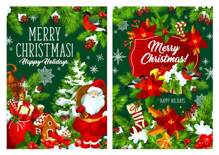 Merry Christmas wish and Happy Holiday greetings. Vector Santa with gifts bag, Christmas pine tree with snow and decoration, garland wreath and stocking in snow. Winter holiday season theme