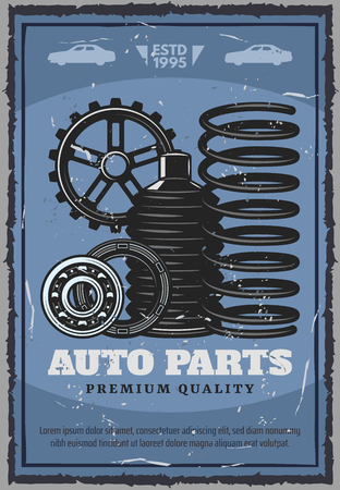 Car service, auto shop of spare parts. Vector vehicle parts with spring and gears, drive belt and boot, car silhouette