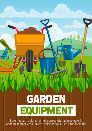 Gardening equipment shop poster with agriculture or horticulture tools. Wheelbarrow with soil and spade or shovel, watering can and hose with sprayer, bucket and rake behind fence on grass vector Illustration