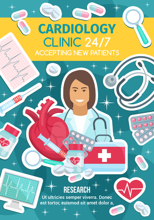 Cardiology clinic and medication treatments of heart diseases. Cardiologist doctor, heart, stethoscope and ecg monitor, medicine bottle with capsules and pills, syringe and first aid kit vector icons