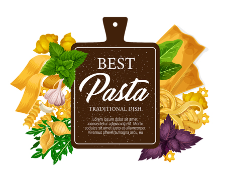 Pasta poster and restaurant menu with cuisine from Italy. Vector fettuccine or farfalle and tagliatelle, traditional lasagna or ravioli with greenery or spices, mint and arugula